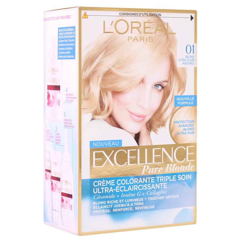 کیت رنگ مو لورال پاریس مدل Excellence  شماره 01 حجم 50 میل - بلوند پلاتینی
