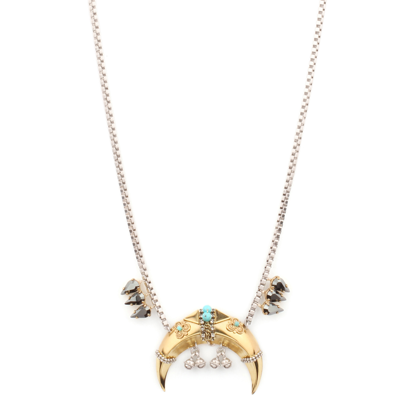 گردنبند طلایی نقره ای طرح ماه ستلایت