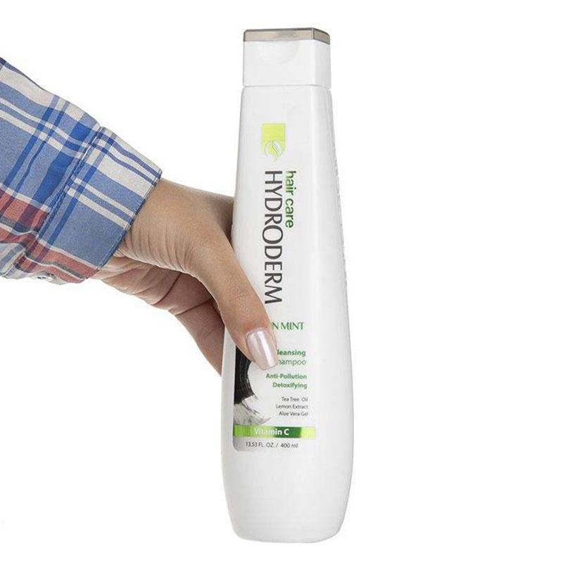 شامپو پاک کننده قوی مو هیدرودرم حاوی زغال و عصاره نعناع حجم 400 میل