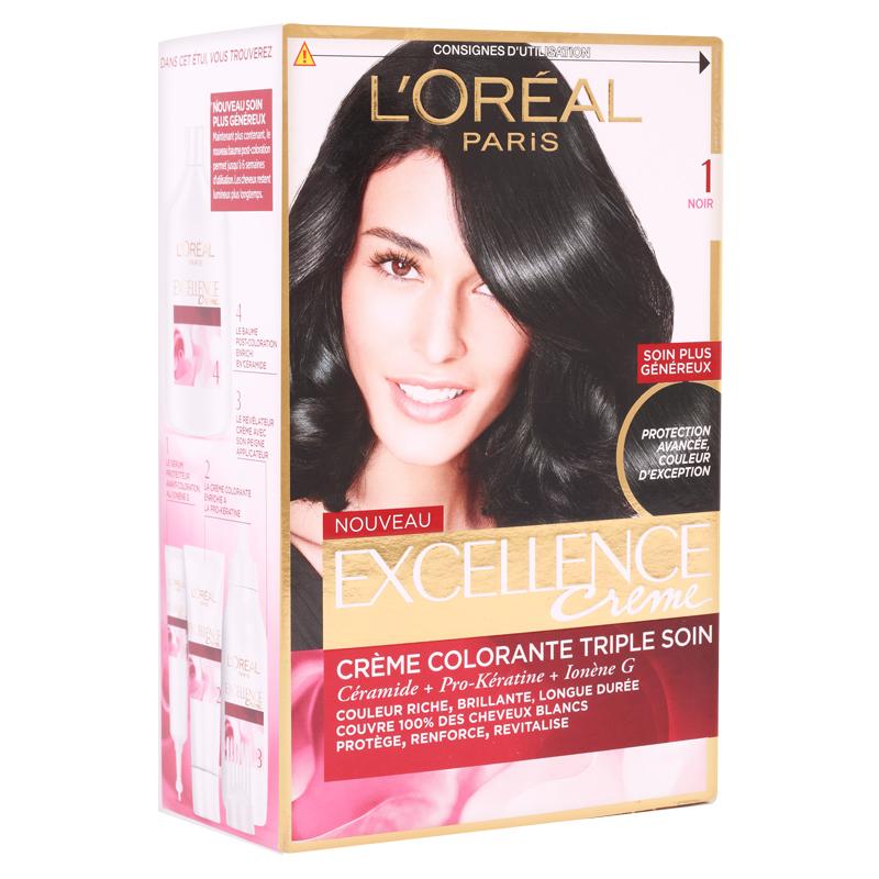 کیت رنگ مو لورال پاریس مدل Excellence شماره 1.0 حجم 50 میل - مشکی