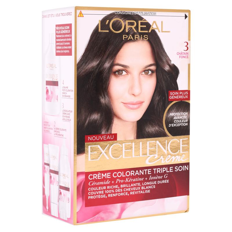 کیت رنگ مو لورال پاریس مدل Excellence  شماره 3.0 حجم 50 میل - قهوه ای تیره