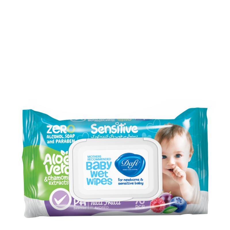 دستمال مرطوب پاک کننده کودک دافی مناسب پوست های حساس تعداد 70 برگ