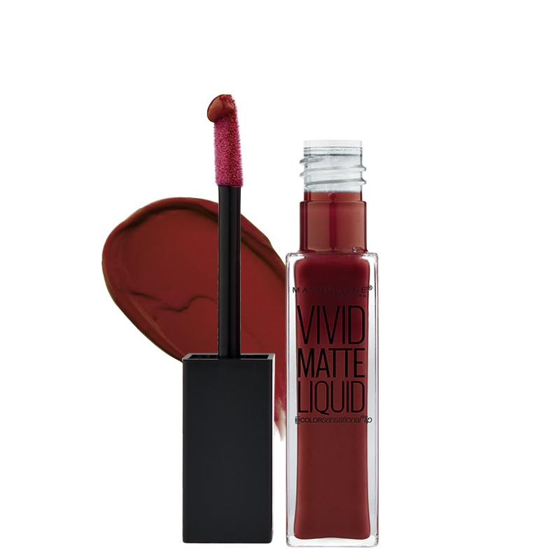 رژ لب مایع مات میبلین مدل Color Sensational Vivid شماره 37 - قهوه ای