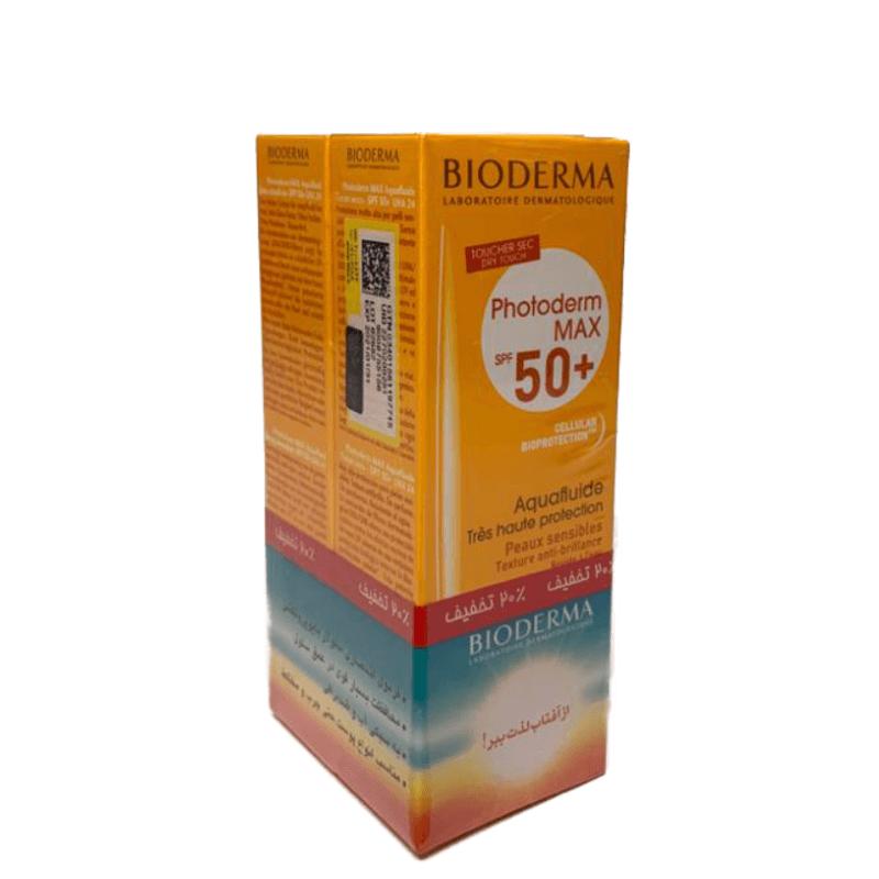 پک دو عددی فلوئید ضد آفتاب بایودرما مدل Photoderm Max با +SPF50  مناسب انواع پوست چرب، مختلط و حساس حجم 40 میل - بدون رنگ