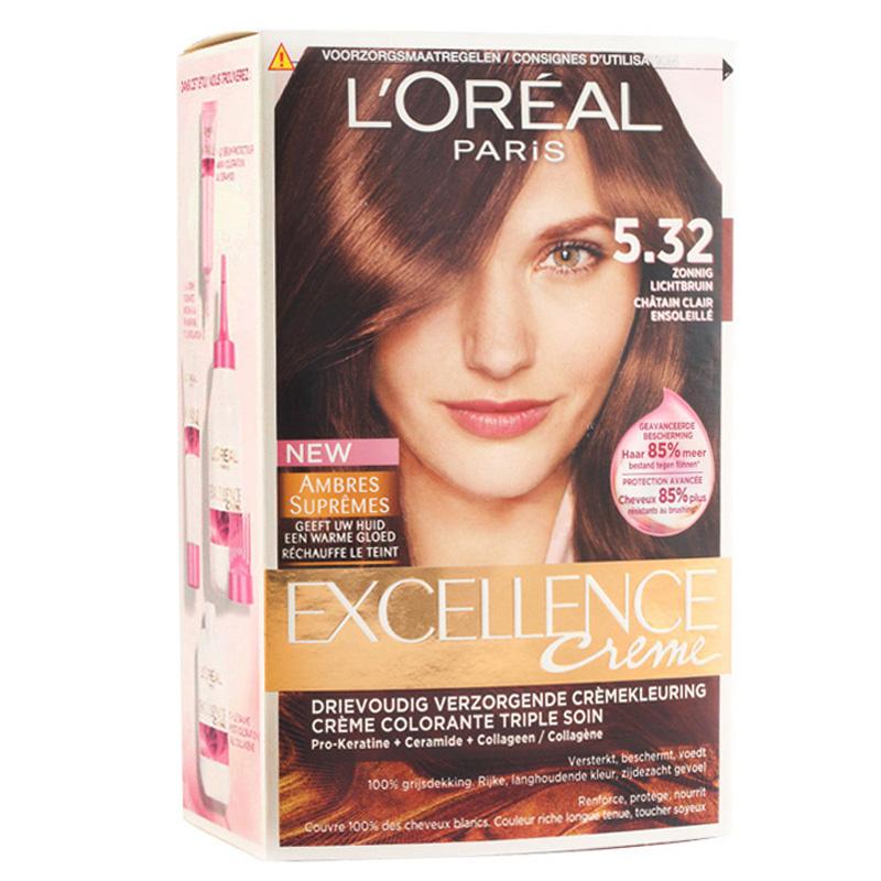 کیت رنگ مو لورال پاریس مدل Excellence  شماره 5.32 حجم 50 میل - قهوه ای روشن با انعکاس طلایی سرد