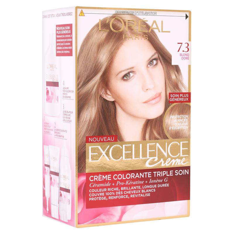 کیت رنگ مو لورال پاریس مدل Excellence  شماره 7.3 حجم 50 میل - بلوند با انعکاس طلایی