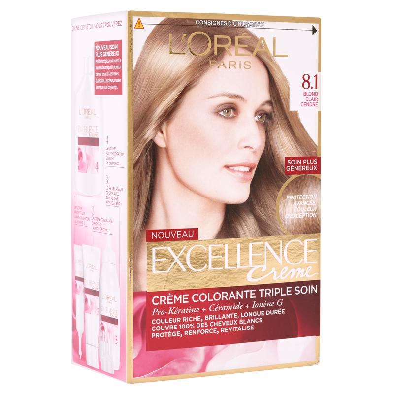 کیت رنگ مو لورال پاریس مدل Excellence شماره 8.1 حجم 50 میل - بلوند روشن با انعکاس دودی