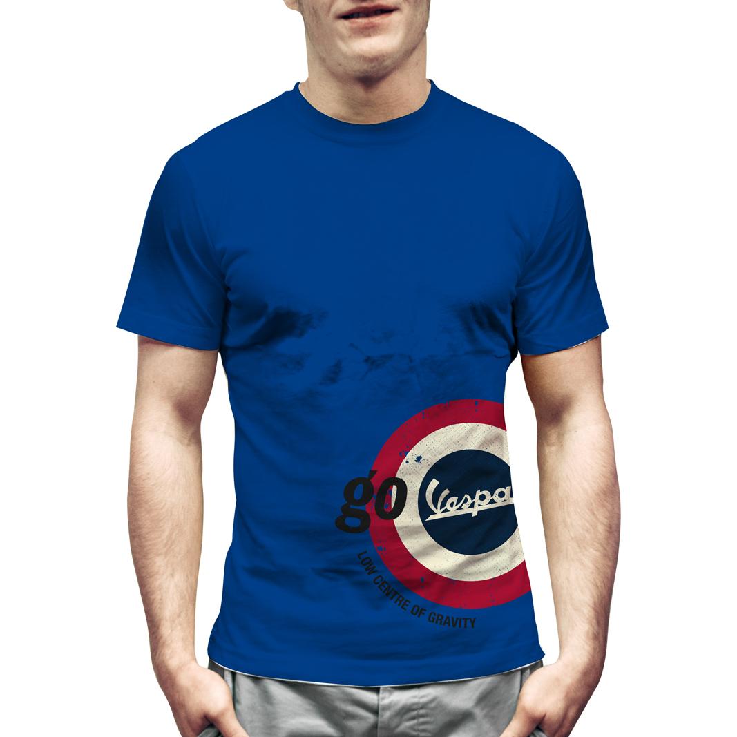 تی شرت آبی وسپا مدل  GO VESPA - سایز M
