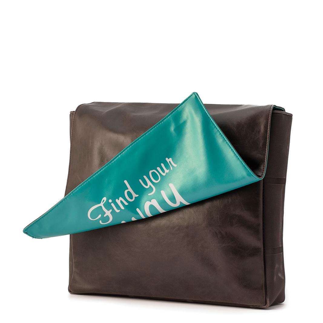 """کیف دوشی قهوه ای وسپا مدل """"FIND YOUR WAY"""""""