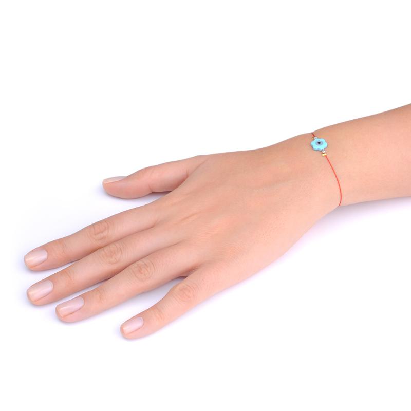 دستبند گل صدف آبی چشم یسمینه با نخ قرمز
