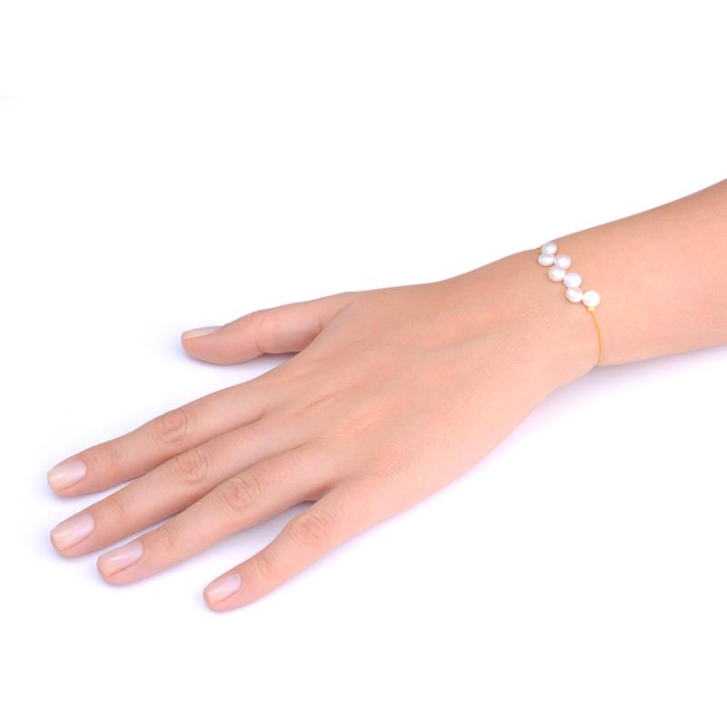 دستبند هفت مروارید تخت یسمینه با نخ خردلی