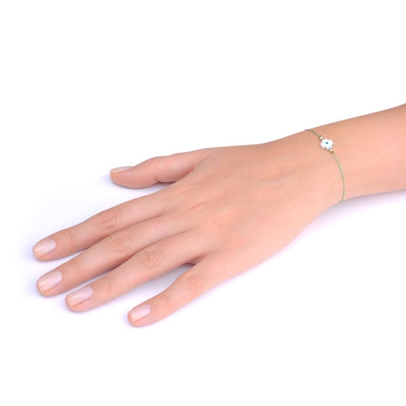 دستبند چهار پر چشم یسمینه با نخ ابریشم سبز