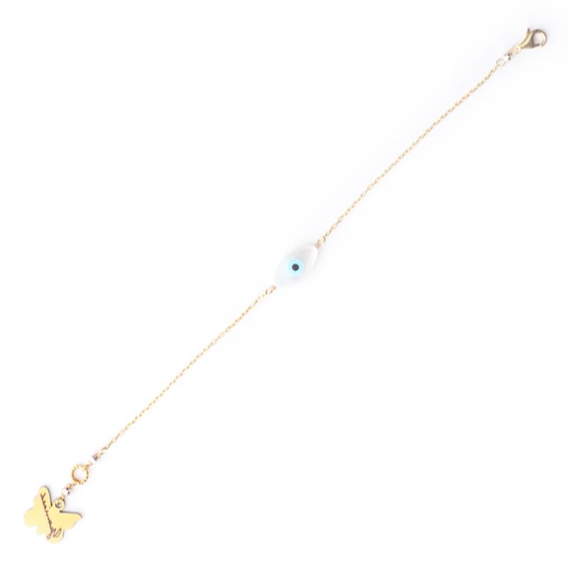 دستبند چشم صدف یسمینه با زنجیر طلایی