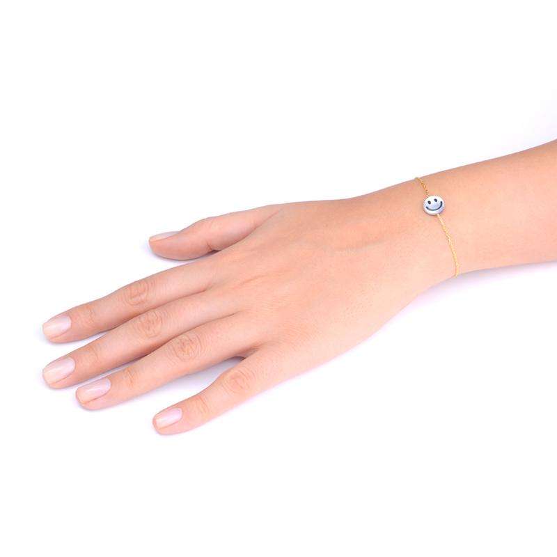 دستبند صدف هپی فیس یسمینه با زنجیر طلایی