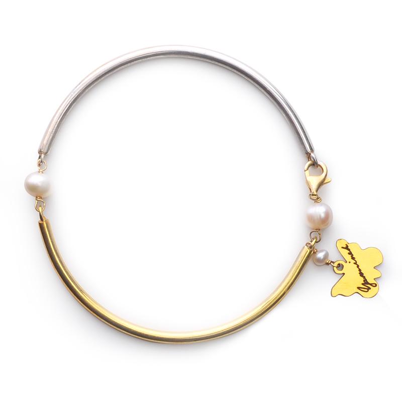دستبند دو رنگ یسمینه با مروارید