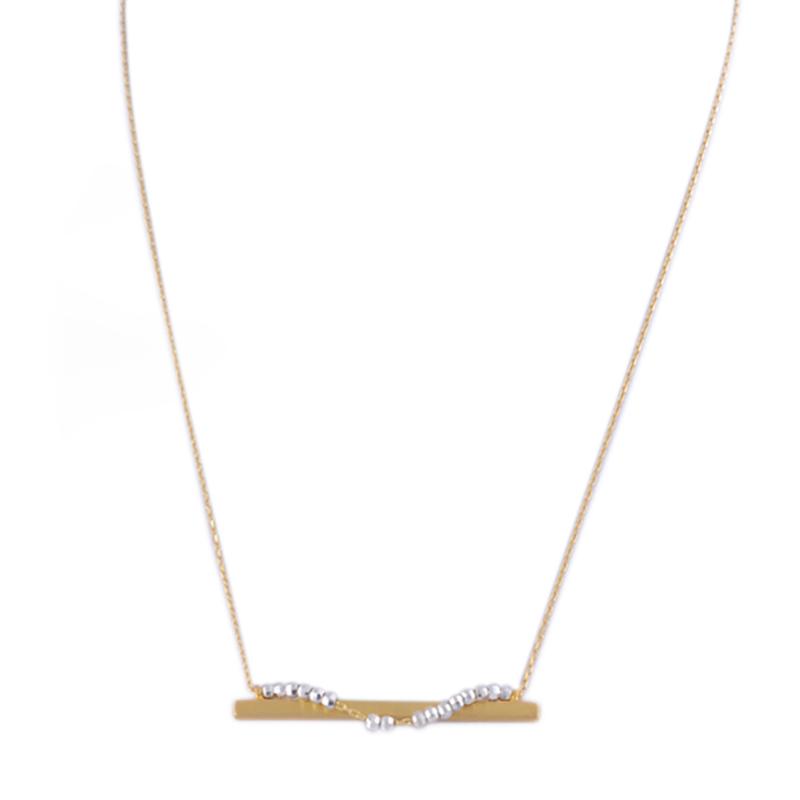 گردنبند تیرآهن آبکاری یسمینه با دانه های نقره ای