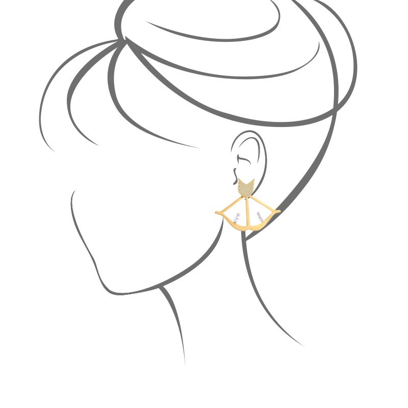 گوشواره تیرکمان طلایی یسمینه با سنگهای نقره ای