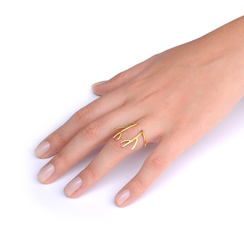 انگشتر شاخ گورزن طلایی یسمینه
