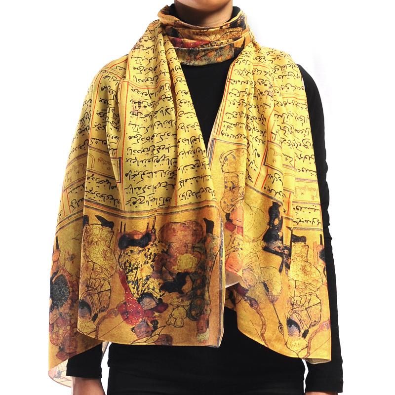 شال متین طرح شاهنامه - زرد