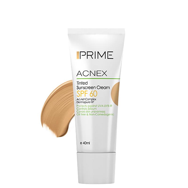 کرم ضد آفتاب رنگی پریم مناسب پوست چرب با SPF 60 حجم 40 میل - بژ