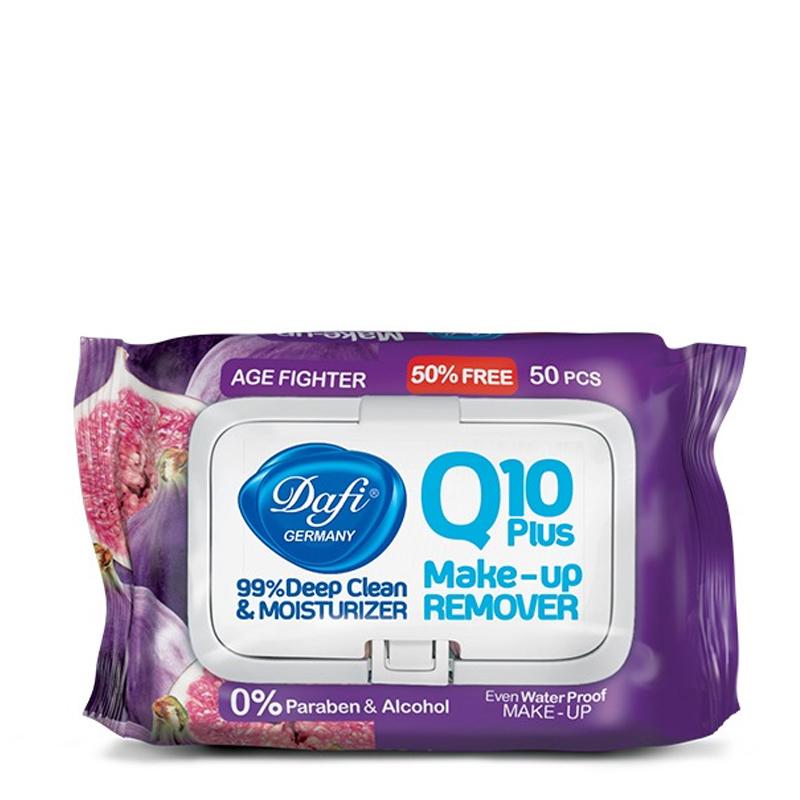 دستمال مرطوب پاک کننده آرایش Q10 دافی طرح انجیر تعداد 50 برگ