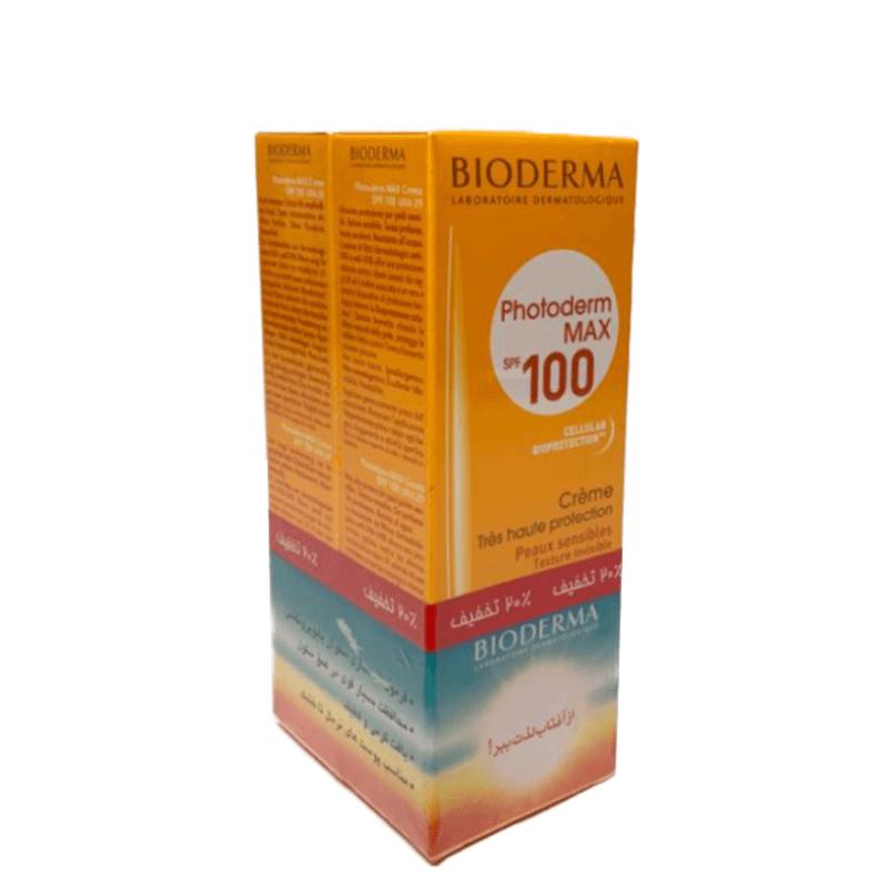 پک دو عددی کرم ضد آفتاب بایودرما مدل Photoderm Max با SPF100  مناسب پوست های نرمال و خشک حجم 40 میل - بی رنگ