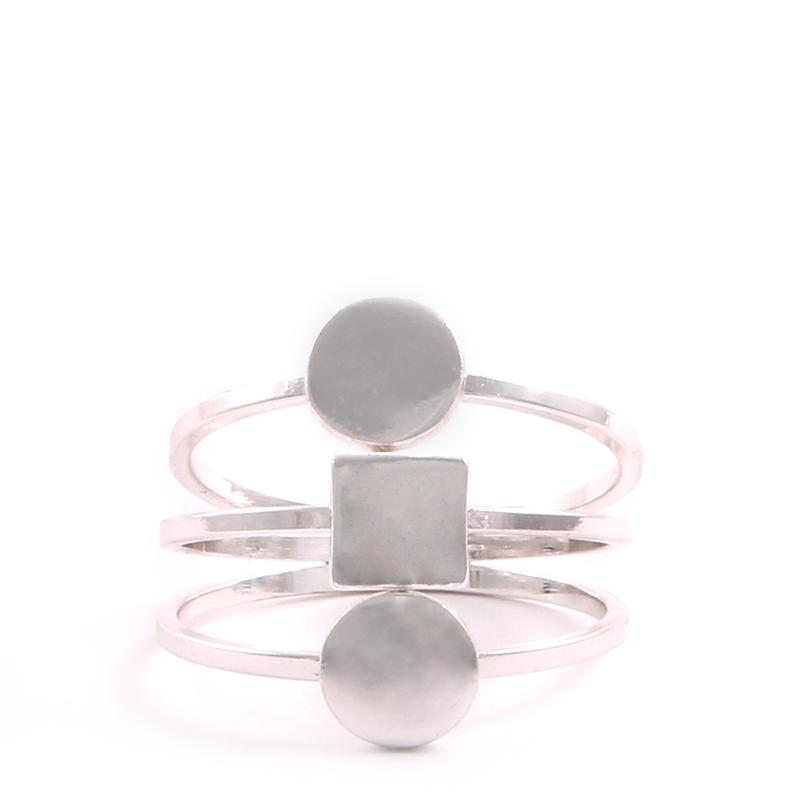 انگشتر ست نقره ای سه حلقه دایره مربع بالابوسته