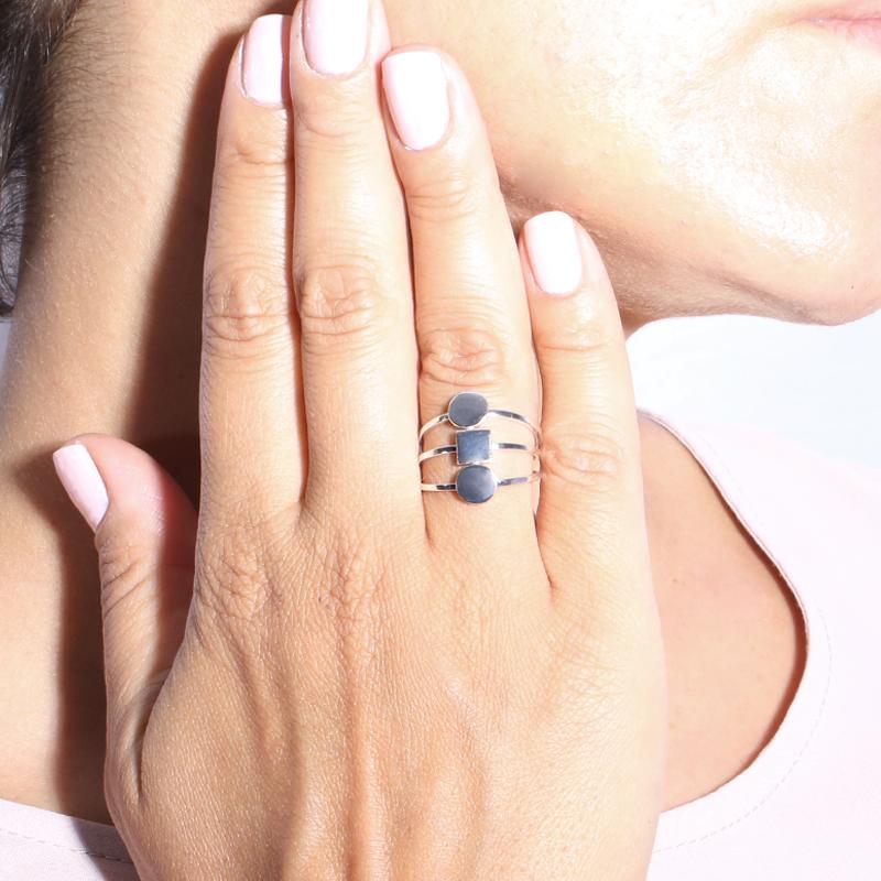 انگشتر ست نقره ای سه حلقه دایره مربع بالابوسته سایز 56