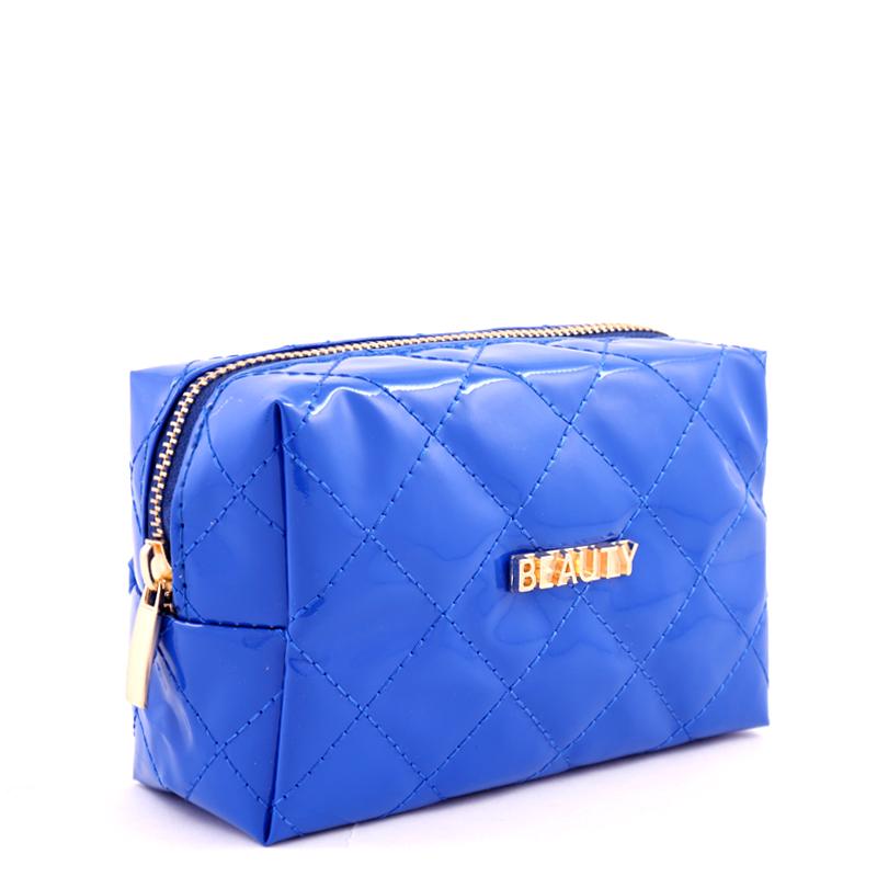 کیف لوازم آرایش ورنی بیوتی - آبی