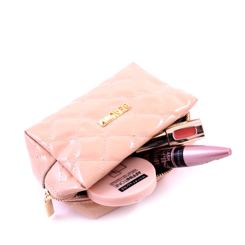 کیف لوازم آرایش ورنی بیوتی - بژ