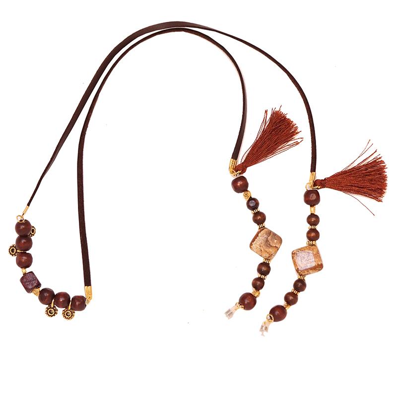 بند عینک چرمی زیور آلات افرا مدل کویر با مهره های چوبی قهوه ای
