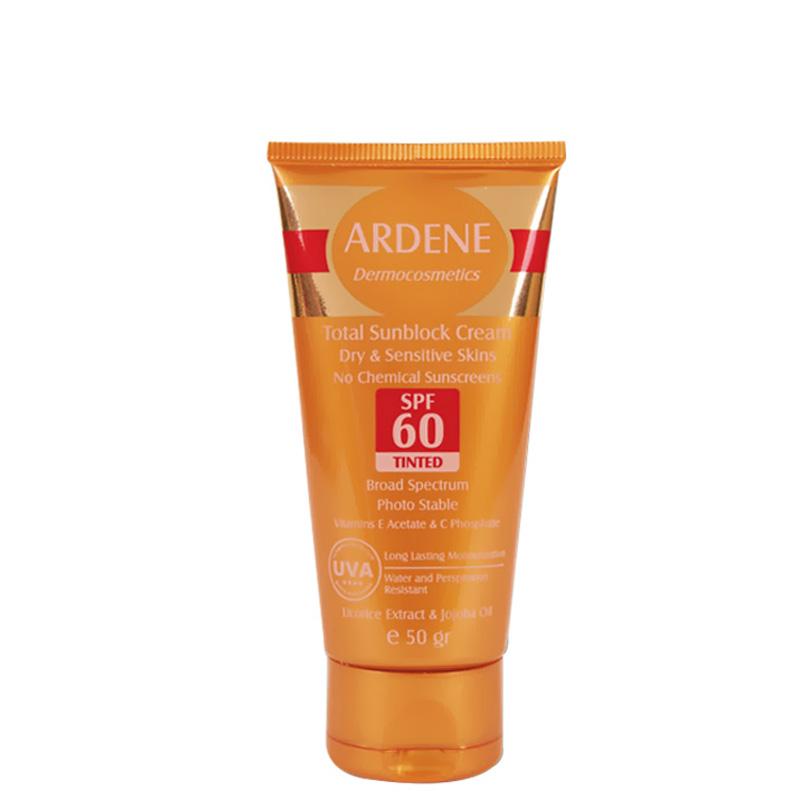 کرم ضد آفتاب رنگی فاقد جاذب های شیمیایی و ضد آب آردن با SPF 60
