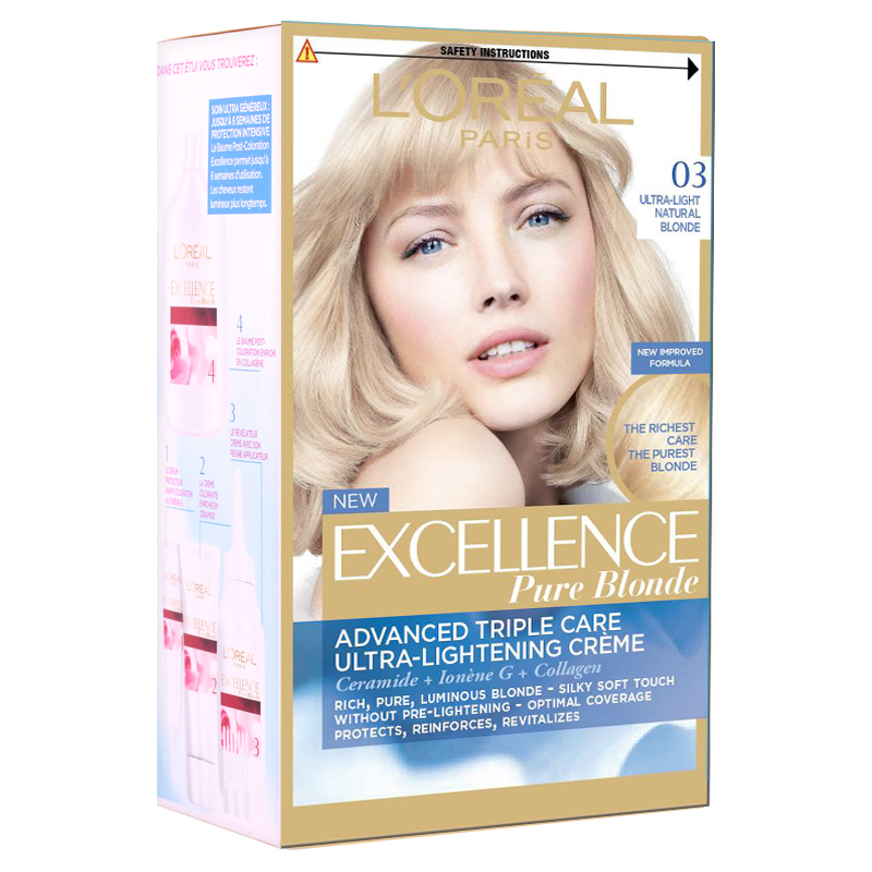 کیت رنگ مو لورال پاریس مدل Excellence شماره 03 حجم 50 میل - بلوند پلاتینه دودی