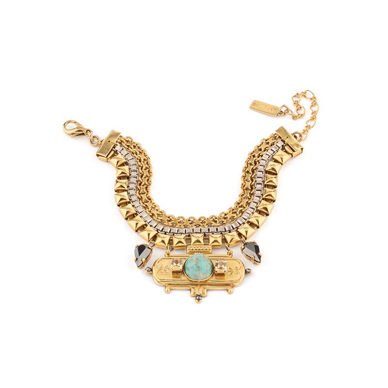 دستبند طلایی فیروزه ای ستلایت