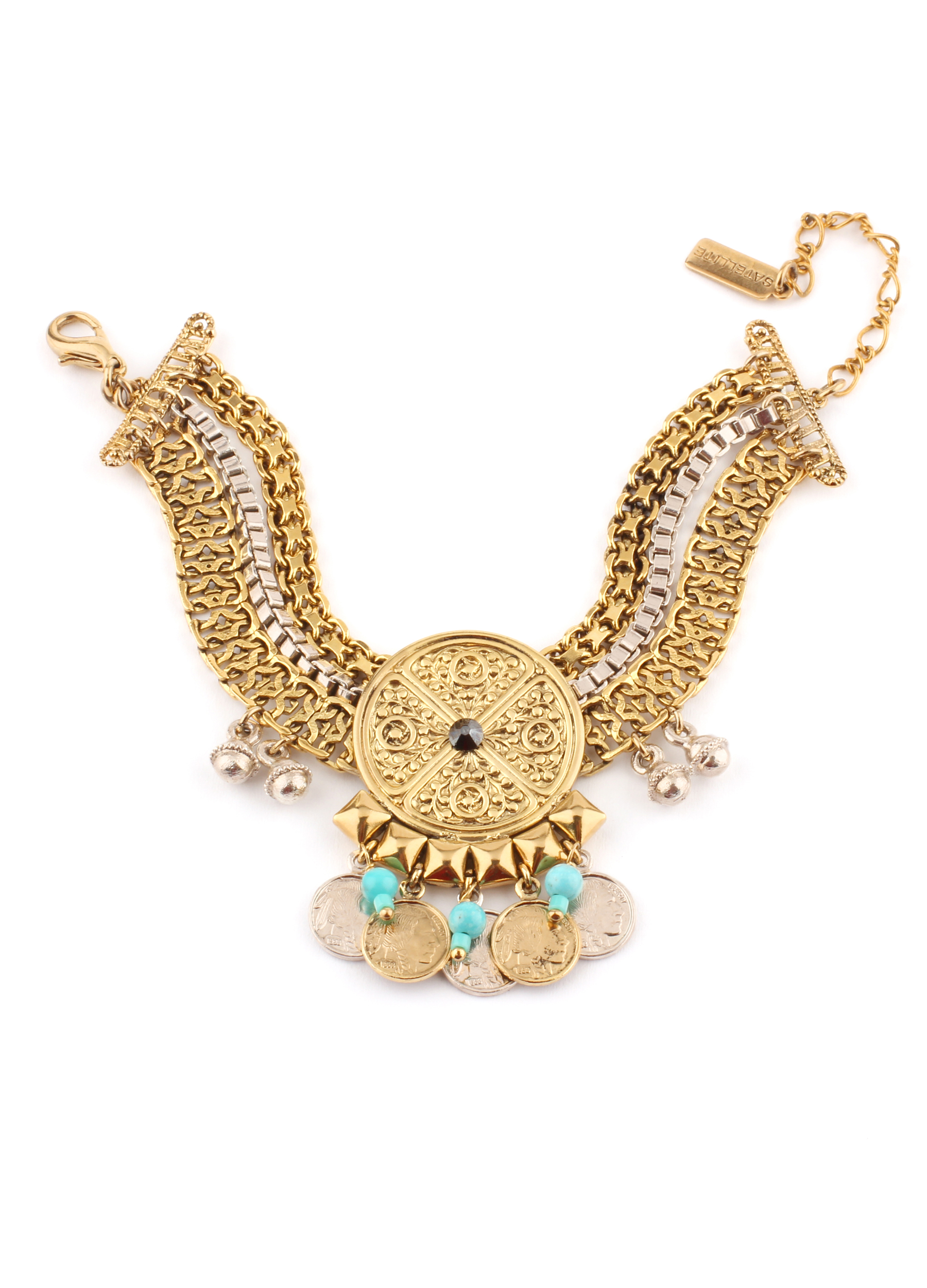 دستبند سکه ای طلایی ستلایت