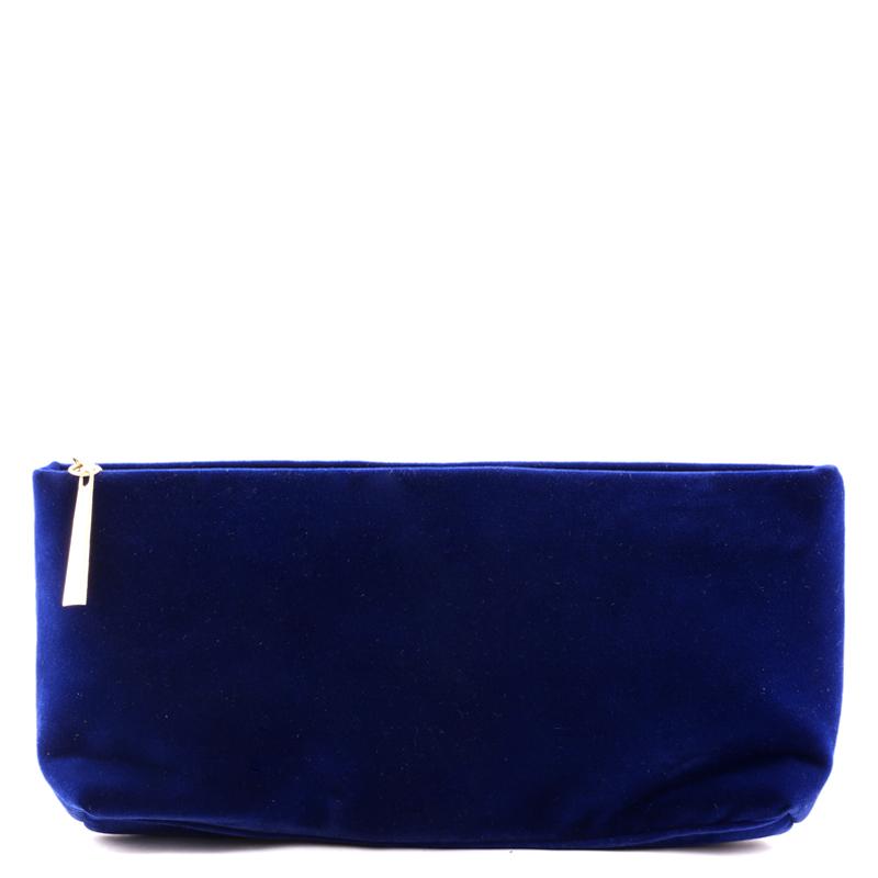 کیف لوازم آرایش مخمل بیوتی - آبی