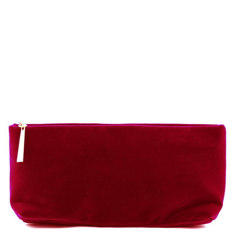 کیف لوازم آرایش مخمل بیوتی - قرمز