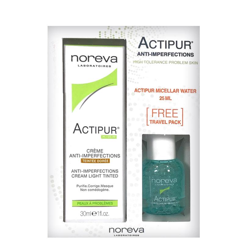 پک کرم ضد جوش نوروا مدل Actipur حجم 30 میل - طلایی + محلول پاک کننده آرایش پوست چرب نوروا مدل Actipur حجم 25 میل