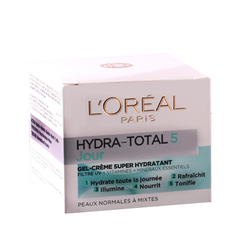کرم مرطوب کننده روز لورال پاریس مدل Hydra Total 5  مناسب پوست نرمال و مختلط حجم 50 میل