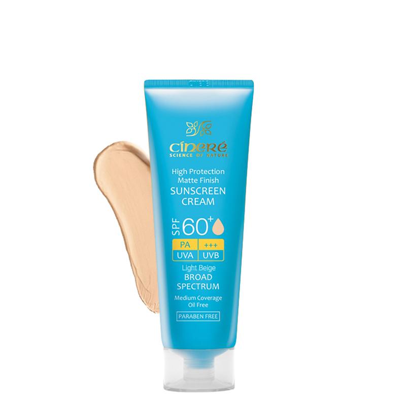 کرم ضد آفتاب مات رنگی سینره مناسب پوست چرب با +SPF60 حجم 50 میل - بژ روشن