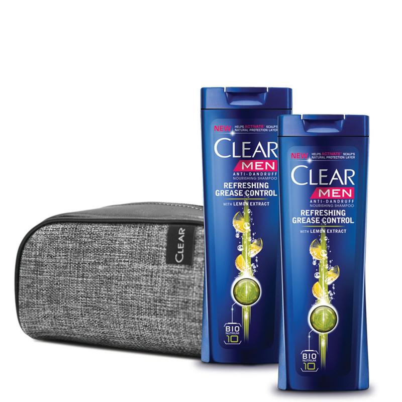 پک 2 عددی شامپو کنترل کننده چربی مو و ضد شوره مردانه کليیر مدل Refreshing Grease Control