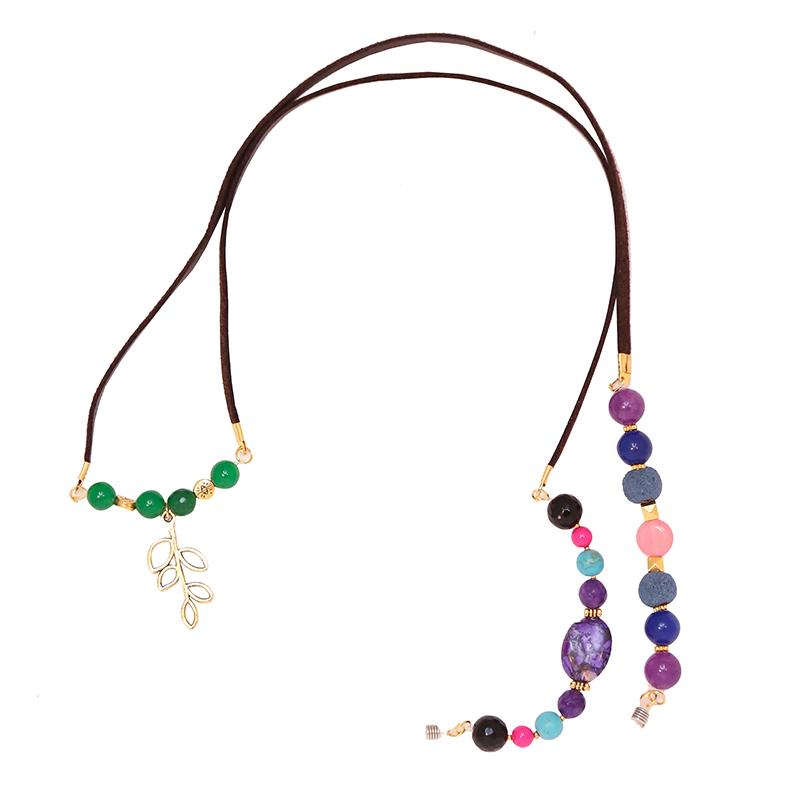 بند عینک چرمی زیور آلات افرا مدل رنگین کمان با سنگ های رنگیب