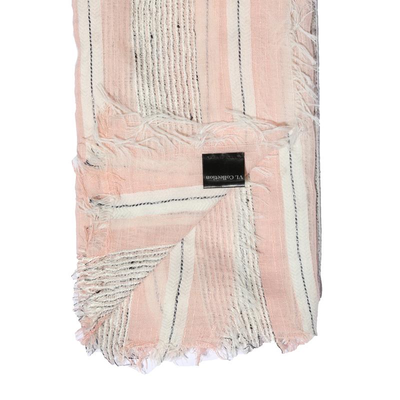 شال نخی پرودوتو ایتالیانو طرح راه راه - صورتی و سفید