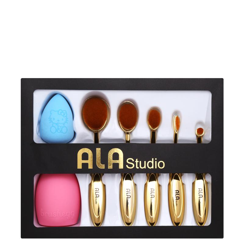 ست پد و براش آرایشی کانتورینگ آلا استودیو - طلایی