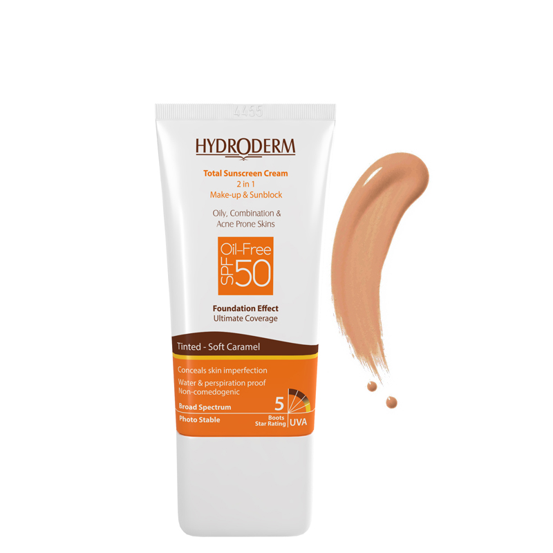 کرم ضد آفتاب رنگی و فاقد چربی هیدرودرم با SPF50 حجم 40 میل - کاراملی