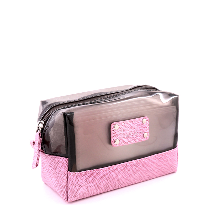 کیف لوازم آرایش بیوتی - صورتی و طوسی