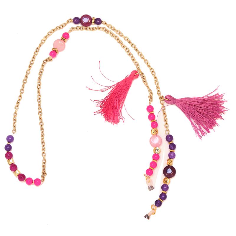 بند عینک زنجیری زیور آلات افرا مدل ارغوان با سنگ صورتی و بنفش