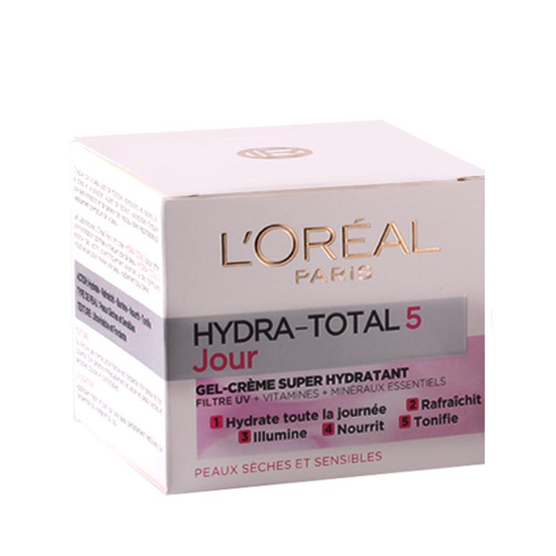 کرم مرطوب کننده روز لورال پاریس مدل Hydra Total 5 (پوست خشک و حساس) حجم 50 میل
