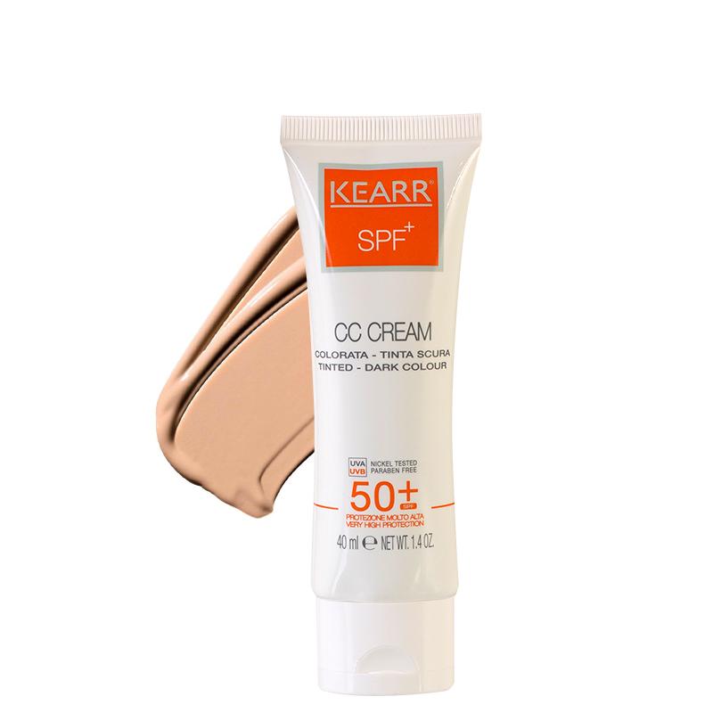 کرم ضد آفتاب رنگی کِ آر مناسب پوست های چرب با +SPF50 حجم 40 میل - رنگ تیره