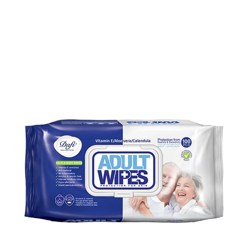 دستمال مرطوب پاک کننده پوست بزرگسالان دافی تعداد 100 برگ